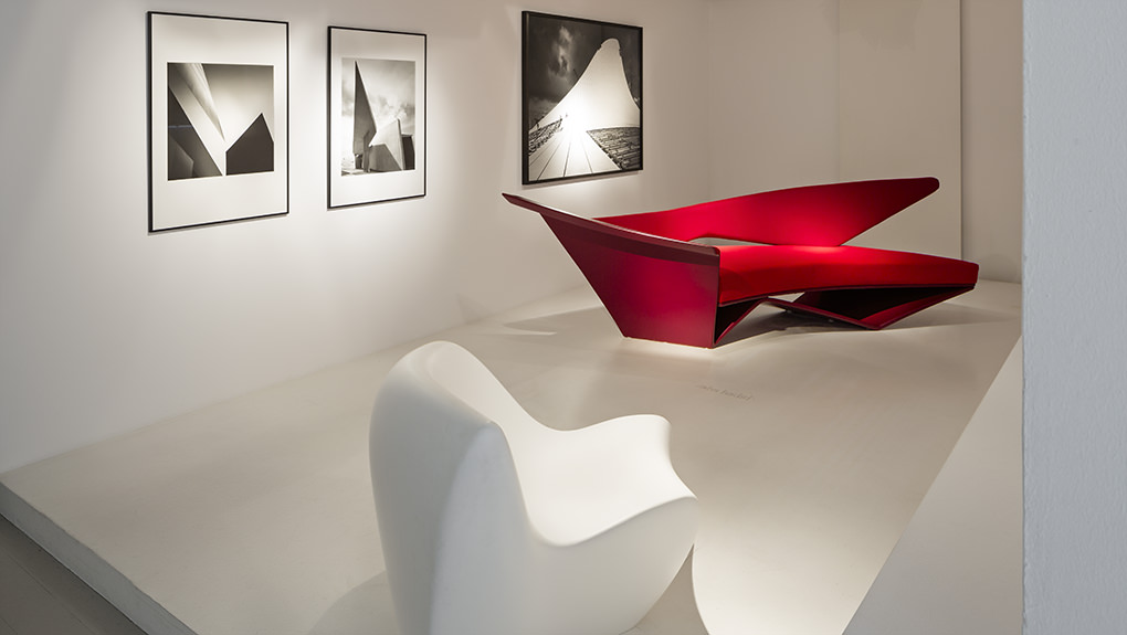 ammann//gallery, 'summer exhibition' 2016 hélène binet, 'vitra fire station', 1993 zaha hadid, 'snow drift' 2006, 'project in red sofa', 1988