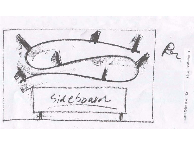 Sketch by Ron Arad, Bookworm, 1993 courtesy ammann//gallery