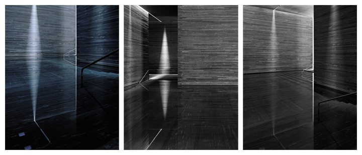 Hélène Binet - Therme Vals Triptychon (Architecture by Peter Zumthor), courtesy ammann//gallery