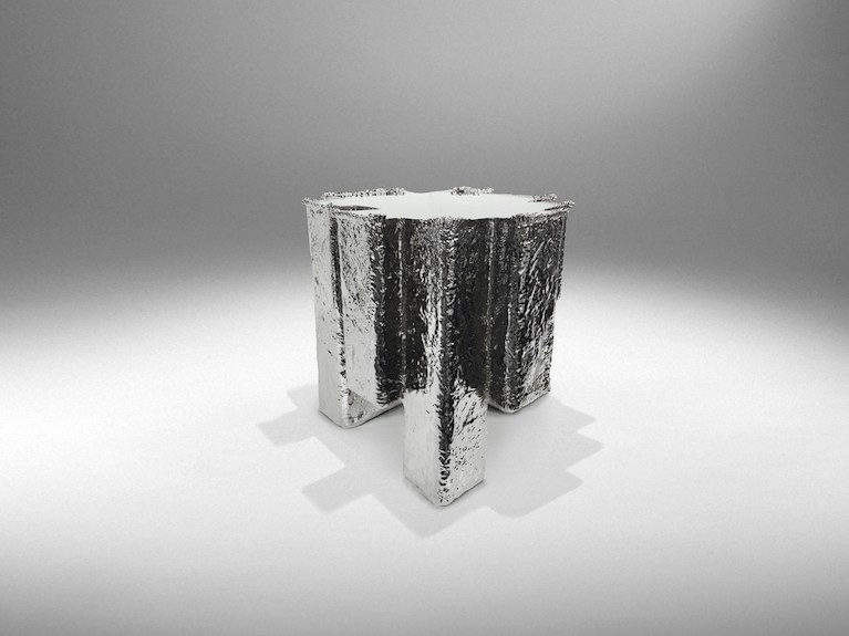 Nucleo, Metal Fossil Nickel Stool, exclusive for ammann//gallery
